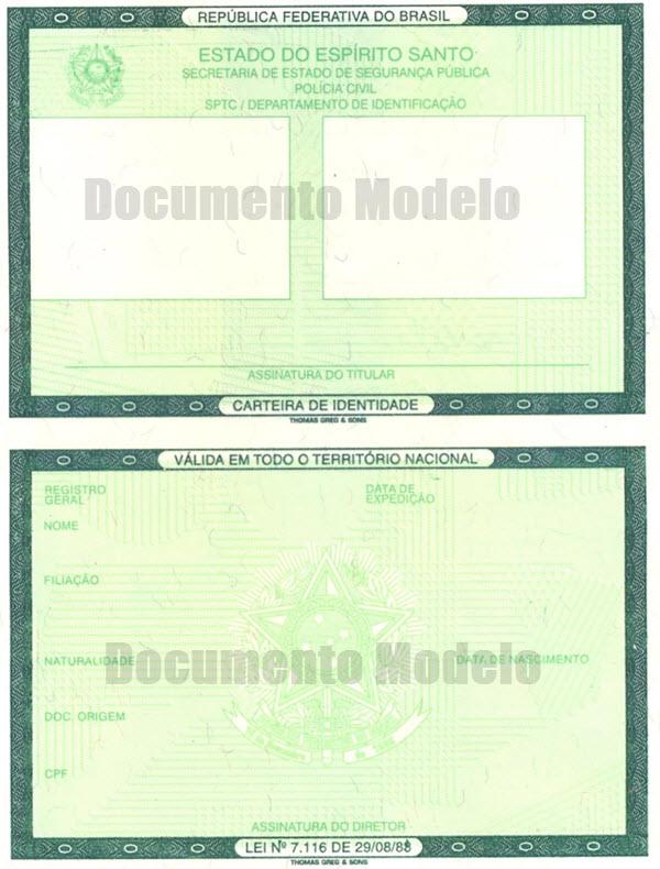 Modelo da Carteira de Identidade, segunda via RG do Paraná
