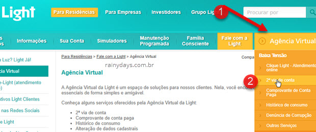 Agência Virtual Segunda Via da conta da Light