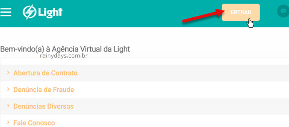 Entrar Agência Virtual Conta Light