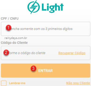 Login na conta da Light