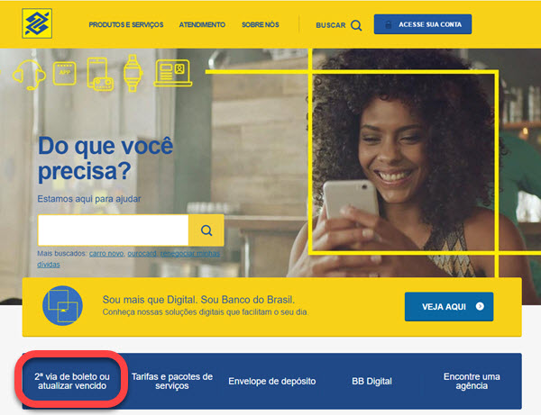 Como atualizar boleto do Banco do Brasil pela internet