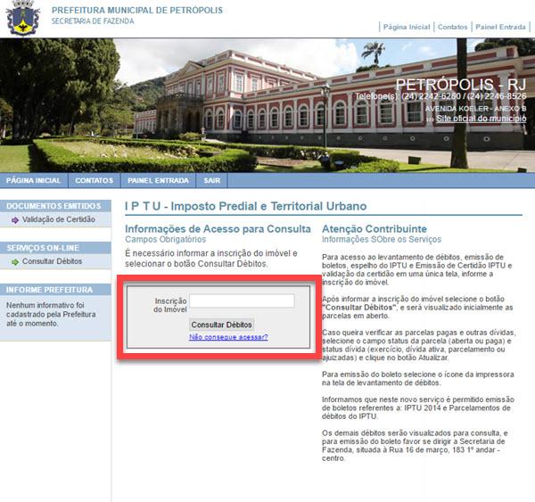 Como tirar segunda via do IPTU de Petrópolis