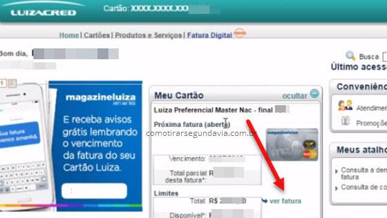ver fatura cartão Magazine Luiza LuizaCred