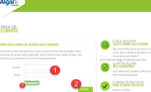 Login Área de Cliente Algar Telecom 2 via