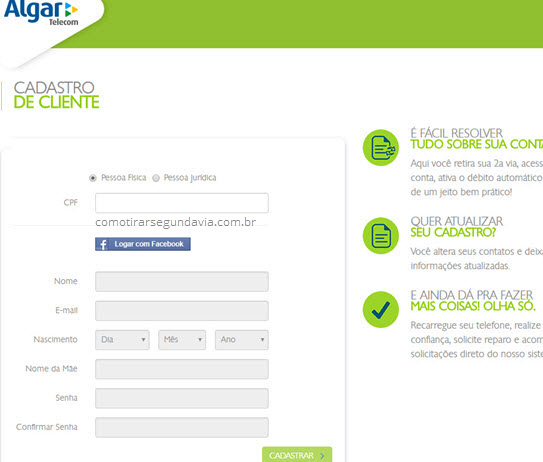Tirar 2 via boleto Algar Telecom