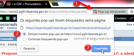 Aviso pop-up bloqueado, segunda via fatura Gaston
