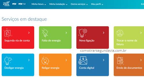 Página da agência virtual CPFL para tirar Segunda via conta de luz da CPFL