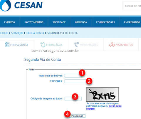 Página para emitir Segunda via da conta Cesan 2ª via de água