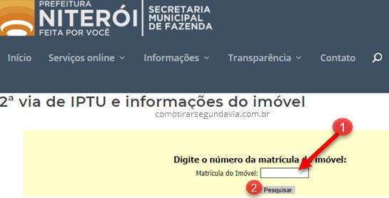 Segunda via IPTU Niterói