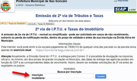 Página para tirar Segunda via IPTU São Gonçalo 2ª via