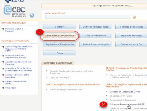 eCAC Declarações e Demonstrativos Extrato DIRPF
