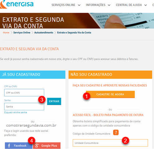 Página de login do site para tirar segunda via Energisa