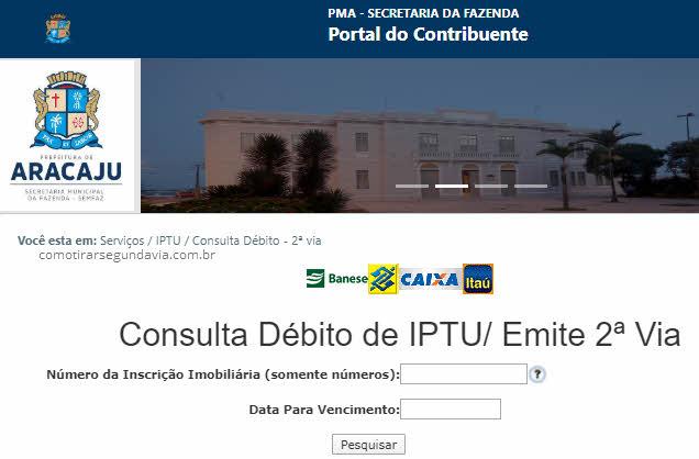 Como tirar segunda via IPTU Aracajú SE